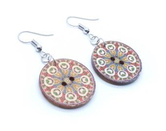 Mandala Wood Button Dangle Earrings