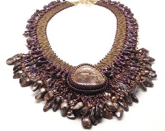 Statement Necklace, Bronze Necklace, Brown Necklace, Purple Necklace, Nubian Princess, Bib Necklace, Beaded Necklace, Statement Jewelry