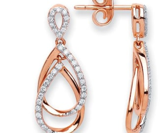 18ct Rose Gold 0.30ct Diamond Drop Earrings