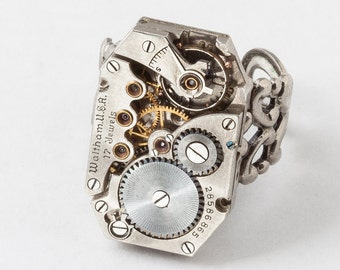 Steampunk Ring Vintage watch movement gears Industrial silver Statement Ring, filigree Cocktail Ring, adjustable ring Steampunk jewelry Gift