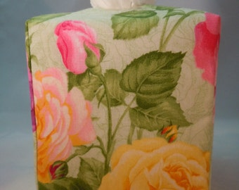 Ready To Ship -  Large Pastel Roses-  Fabric Tissue Box Cover