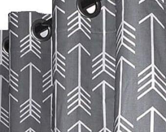 "Valance Window Top Treatment  Rod Pocket / Grommet in Premier Prints Arrow Cool Grey 50""wide x 16"" Height"