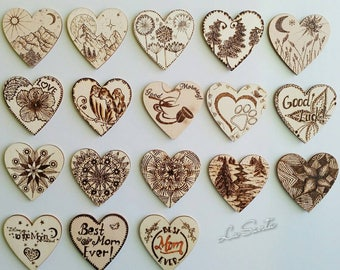 Fridge Magnets, Wooden Magnets, Heart Magnets,  Love Magnets, Refrigerator Magnets