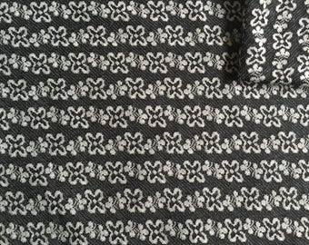 Vintage Fabric 60's/70's Floral, Polyester, Black, White Printed Design Material, Textiles