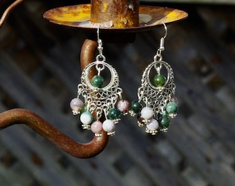 Indian Agate Chandelier Earrings ~ Bohemian Earth Coloured Stones ~ Boho Jewellery ~ Semi Precious Stones ~ Meditation Stones ~ Spring Gift