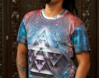 MERKASTAR  Men's cotton T-shirt / Mandala Shirt / Sacred Geometry Shirt / Galaxy Shirt / Merkaba shirt / festival shirt / trippy Shirt
