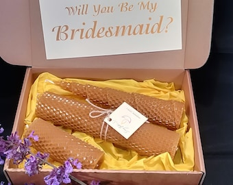 Will You Be My Bridesmaid set ot 3 Beeswax candles gift in box Wedding invations set candle