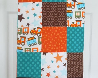 SALE Stars and Trains Quilt: Ready to ship, Baby boy quilt, baby bedding, Crib Quilt, Baby Shower gift, patchwork quilt, brown, orange, blue
