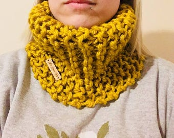 Mustard hand knitted chunky cowl!