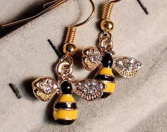 Honey Bee Earrings - Bee Earrings - Insect Earrings - Yellow Earrings