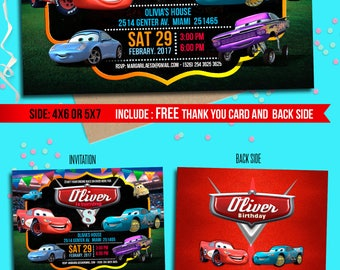 Cars birthday Invitation, Free Thank yuo card, Cars custom chalkboard invitation, Cars Lightening McQueen, Cars party, to Any age. C001