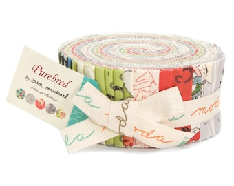 """Purebred Jelly Roll by Erin Michael for Moda fabrics, 44""""x2.5"""" strips, 26090JR"""