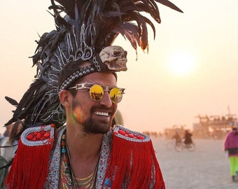 FREE SHIPPING! Light-up Feather Mohawk with Skull. Burning Man.