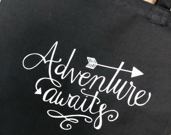 Adventure Awaits cotton tote bag