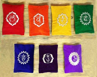 Seven Chakra Pillows with Embroidered Sanskrit Symbol -Crystal Healing Reiki-Yoga-Crystal Grid-Hand Embroidered Sanskrit Symbol