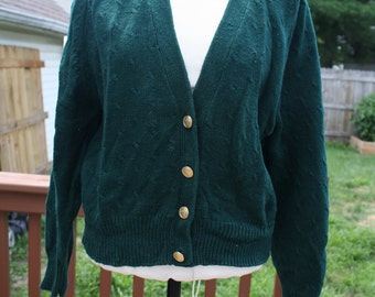 Vintage green cardigan with gold buttons