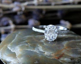 Forever One(Color D-E-F), 7x9mm Charles & Colvard Oval Moissanite Engagement Ring, Solid 14K White Gold Ring, Wedding Ring, Anniversary Ring