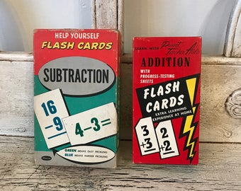 Vintage Flash Cards - Addition and Subtraction - 2 Sets 1958 &1959