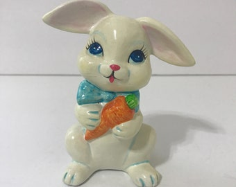 Vintage White Bunny Rabbit Carrot Figurine Easter Kitchy Decor Made in Japan