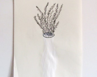 vase . original drawing by Ana Frois