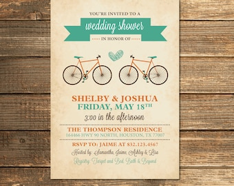 Bicycle wedding shower invitation bridal shower teal aqua bicycle wedding shower invitation bridal shower teal aqua orange retro filmwisefo