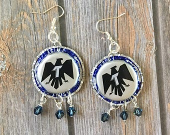 Bottlecap Beer Upcycled Dangle Earrings with Crystals
