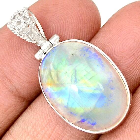 Rainbow Moonstone 925 Sterling Silver Pendant Jewelry