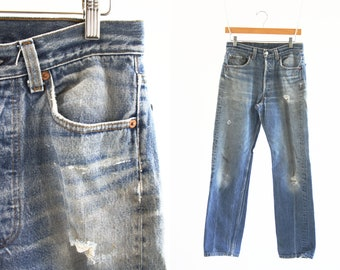 """29"""" X 31"""": Vintage 80's UNISEX Levi Strauss 501 XX High Waist Straight Leg Shrink To Fit Highly Distressed Faded Retro Denim Jeans"""