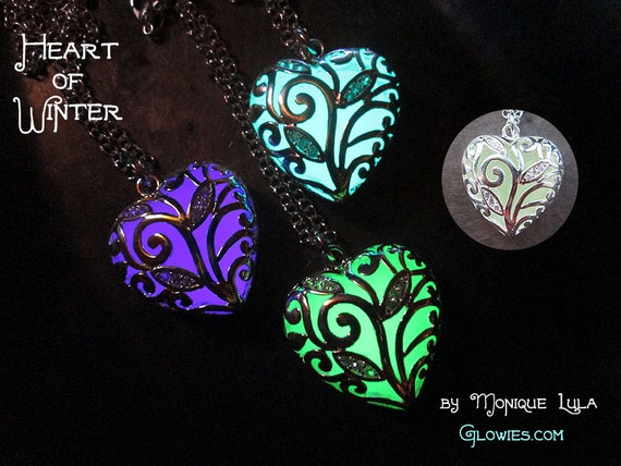 Heart of Winter Frozen Forest Glow in the Dark Magic Necklace UV Light USA Made Glowie Pendant Crystals Filigree Silver Glowing Love Jewelry