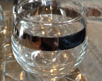 Libbey Roly Poly Glasses Silver Band by Libby on Crystal Tray Vintage Set - #
