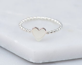 Sterling Silver Heart Ring, Heart Ring, Simple Silver Ring, Silver Stacking Ring, Minimalist Heart Ring, Rings for Women, Gift for Her