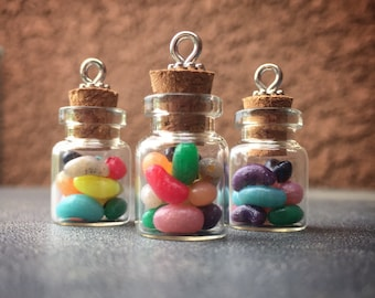 Happiness in a Jar: Tiny Jelly Beans in a Glass Jar Individual Stitch Marker for Knitters & Crocheters