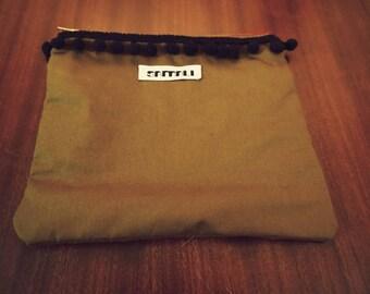cotton flat clutch, piroshki, lined  YKK zipper pouch with pom pom