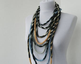 Knit Scarf Necklace, Loop scarf, Infinity scarf, Knitted scarflette, in white,blue,beige and gray E110