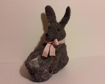Pot lapin porte plante avec noeud rose