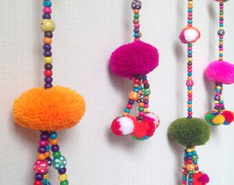 "Pom Pom Garland, Red, yarn pom pom garland, party, wedding, yarn ball, colorful, rainbow, mobile, carnival, decoration, 36""-47"""
