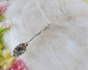 Silver Spoon Necklace Large Silver Ornate Spoon Pendant Necklace Pendant Detailed Spoon Small Chain Whimsical Jewelry Retro Charm Necklace