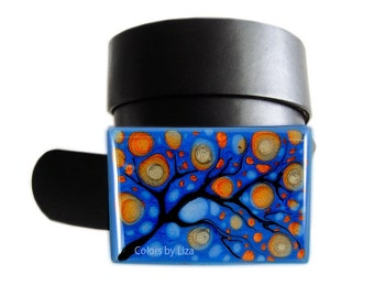 Large Metal Belt Buckle Hand Painted Enamel in Blue and Orange Blossom Inspired for Snap Belts with a Glossy Finish Customizable