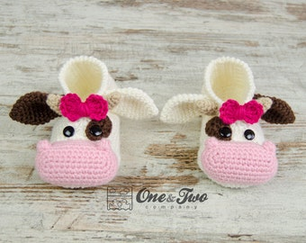 Doris the Cow Booties - PDF Crochet Pattern - Child sizes ( US 10-11, 12-13, 1-2 ) - Shoes Child Slippers