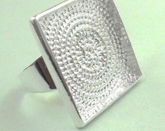 5pcs silver tone square tray Adjustable Ring Blank matching 5PCS square glass
