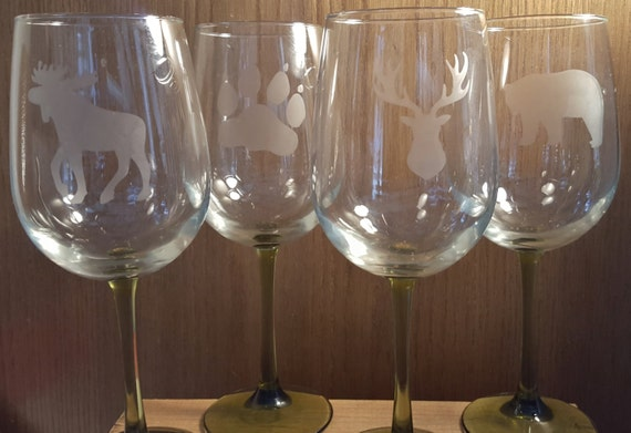 Etched Wine Glasses - Northwoods, Set of 4