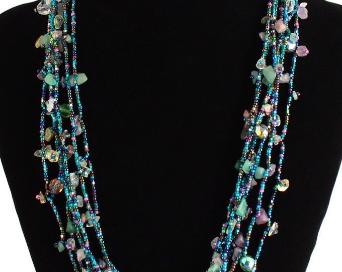 Hand beaded blue multicolored multistrand necklace, magnetic clasp, 24 inches #176
