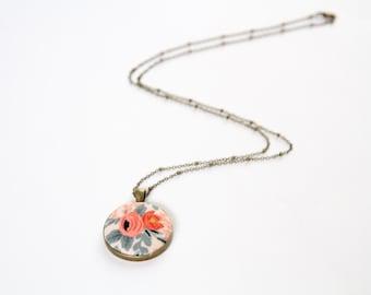 Les Fleurs Rosa floral fabric pendant - rifle paper co necklace - antique bronze coral necklace - gift for her - cotton steel fabric pendant