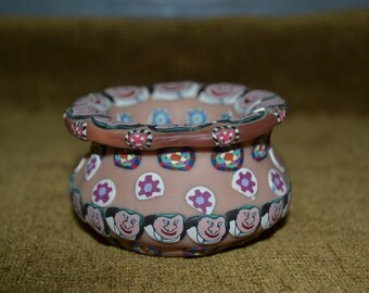 Small bowl / unique bowl / handmade bowl / polymer clay / Wisonsin / faces / designs / bowl / clay / hand decorated / vintage / clay bowl