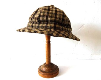 Vintage Scottish Brown Wool Houndstooth Rain Hat