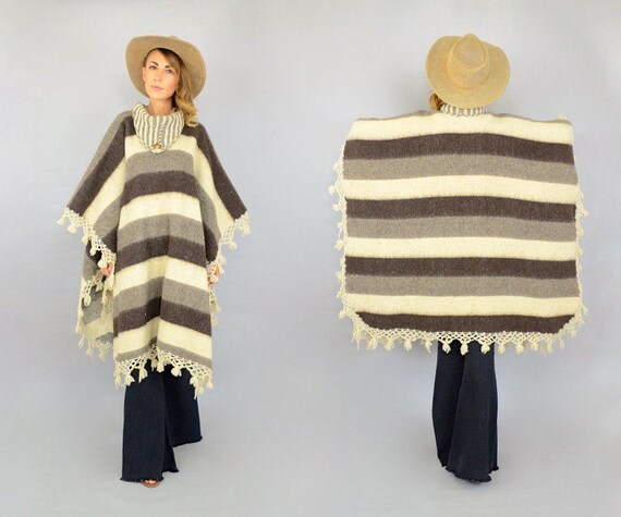 Wool Striped 70's 70's Wool 70's Wool Poncho Poncho Striped Poncho Striped 70's Striped Tw8qpp1