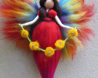 Rainbow Fairy needle felted and waldorf inspried