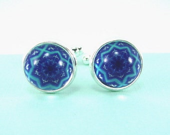 MOROCCAN JEWEL Silver Cuff Links -- Arabic design cuff links in serene shades of blue