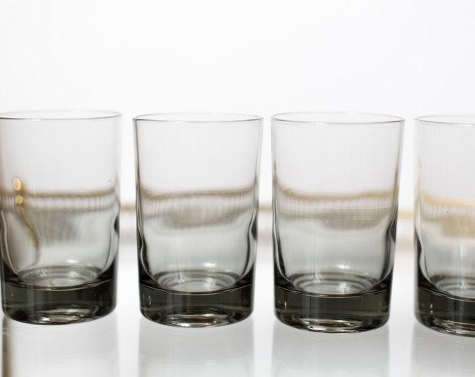 5 Vintage Cocktail Glasses - 5oz Handblown Grey Smokey Tumbler Glasses - Mad Men Retro Barware / Glassware