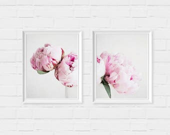 Set of 2 Watercolor Peonies Print - digital download instant art print - floral girly nature flower chic fashion poster roses flower